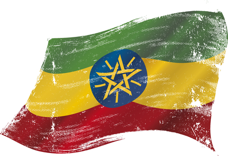 bad condition: A grunge flag of Ethiopia in the wind flag for you Illustration