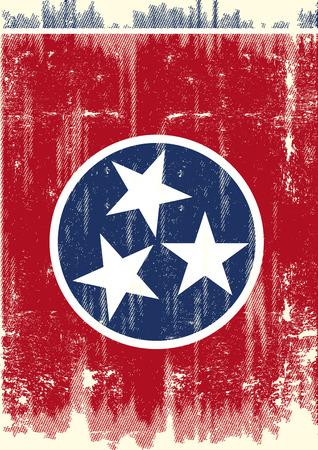 Scratched Drapeau Tennessee. Un drapeau du Tennessee avec une texture grunge Vecteurs