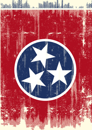 Scratched Tennessee Flag. A flag of Tennessee with a grunge texture 向量圖像
