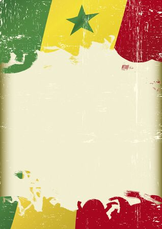grained: Scratched senegalese Flag. A flag of Senegal with a grunge texture and a large frame for your message