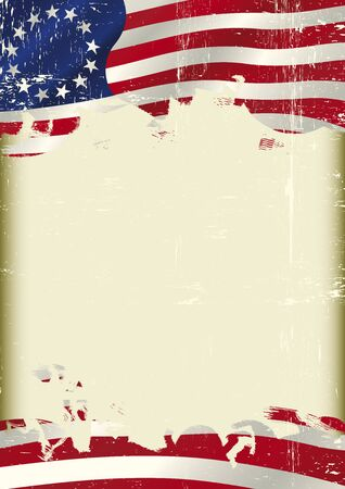 grained: Betsy Ross Flag. An old Union flag with a grunge texture and a large frame for your message Illustration