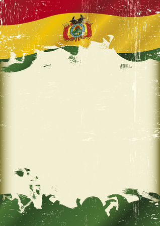 lag: Scratched Bolivian Flag. A flag of Bolivia with a grunge texture and a large frame for your message