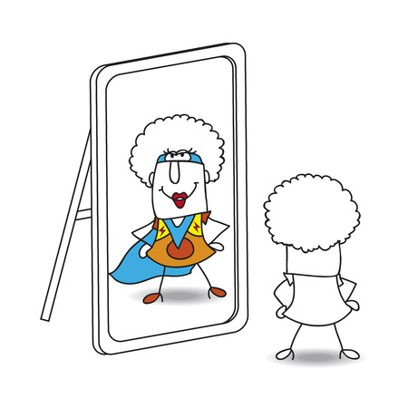 An afro girl looks in the mirror. She sees a supergirl in the reflection. It's a metaphor of the power which is in each person