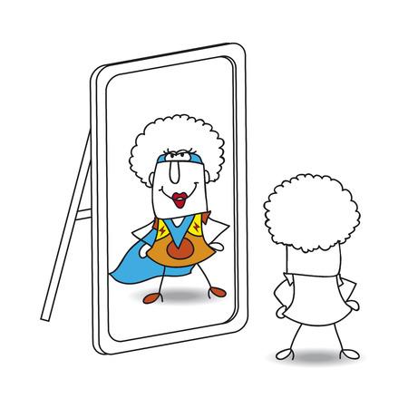 Una chica afro mira en el espejo. Ella ve una Supergirl en la reflexión. Es una metáfora del poder que está en cada persona