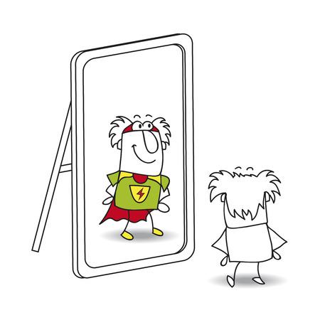 persona mayor: Mike, el anciano, mira en el espejo. Ve a un h�roe en la reflexi�n. Es una met�fora del poder que est� en cada persona Vectores