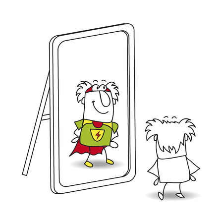 personality development: Mike, the old man, looks in the mirror. He sees a hero in the reflection. Its a metaphor of the power which is in each person Illustration
