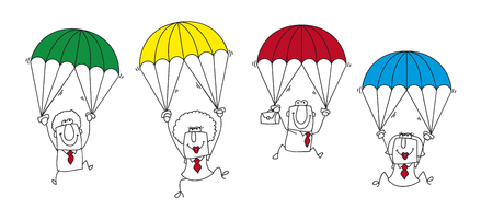team group: this group of businessmen and businesswomen is the ideal team for this sticky situation Illustration