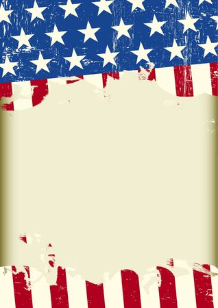 A US grunge flag with a frame for your message Illustration