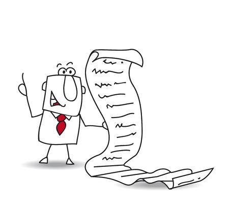 ジョー ビジネスマンはやることの長いリストを読み込む  イラスト・ベクター素材