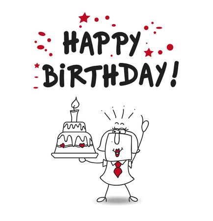 Karen and a big birthday cake says happy birthday Векторная Иллюстрация