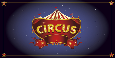 circus sign: A circus sign in the night for your entertainment