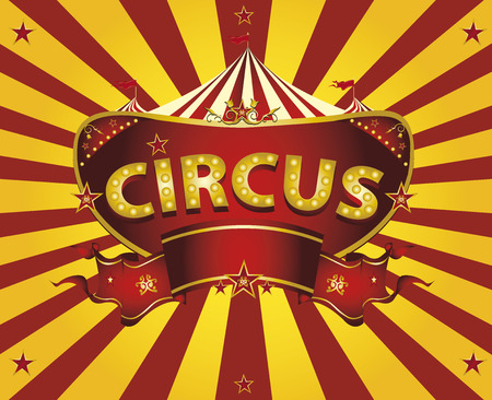 A circus  greeting card with sunbeams for your entertainment Stock Illustratie