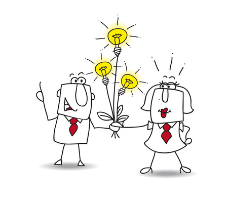 think tank: Joe the businessman gives a bouquet of ideas bulbs. this is a metaphor for someone who shares ideas