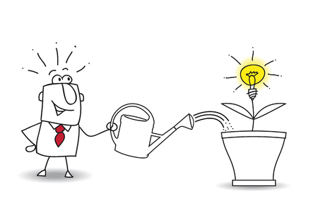 invent clever: this businessman waters the tree and an idea bulb. Its a metaphor of somebody who want find a brilliant idea