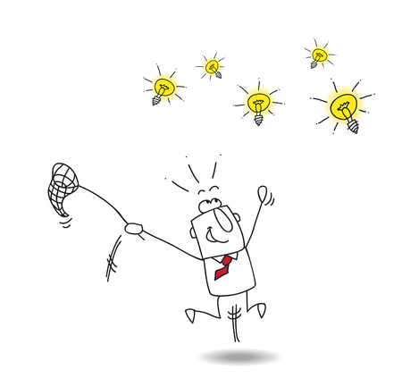 A businessman runs after light bulbs. Its a metaphor of somebody who want find brilliant ideas