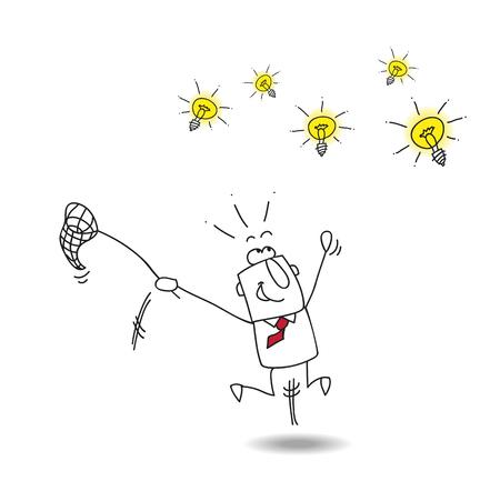 coger: Un hombre de negocios se ejecuta después de bombillas. Es una metáfora de alguien que quiere encontrar ideas brillantes