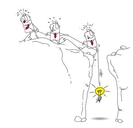three businessmen are trying to pull up with a rope an idea bulb. this is a metaphor of the cooperation of a business team to find a solution