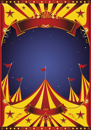 cabaret stage: A circus vintage poster in the night for your entertainment