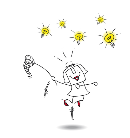 think tank: A businesswoman runs after light bulbs. Its a metaphor of somebody who want find brilliant ideas