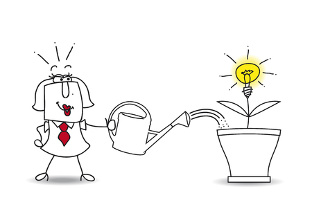 think tank: this businesswoman waters the tree and an idea bulb. Its a metaphor of somebody who want find a brilliant idea
