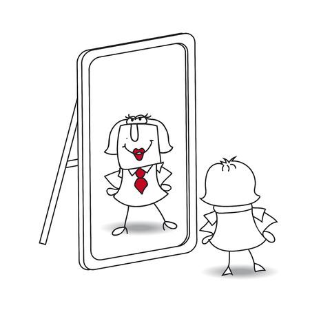 Karen mira en el espejo. Es una metáfora de mantener a sí mismo en la vida