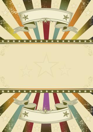 Un fondo retro con los rayos de sol multicolor y un marco para su mensaje Ilustración de vector