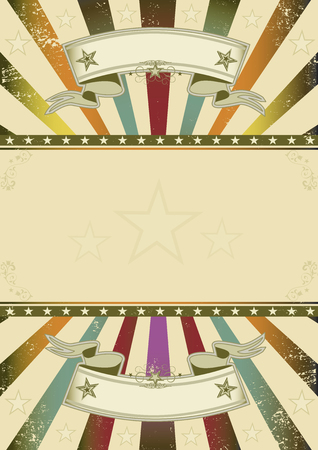 Un rétro fond avec des rayons de soleil multicolores et un cadre pour votre message Vecteurs