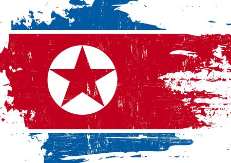 pyongyang: A North Korean flag with a grunge texture
