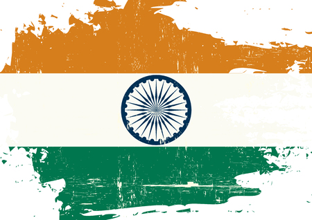 grained: An indian flag with a grunge texture