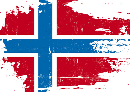 grained: A Norwegian flag with a grunge texture Illustration