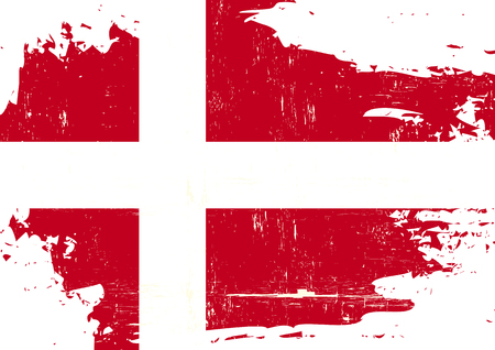 danish flag: A danish flag with a grunge texture