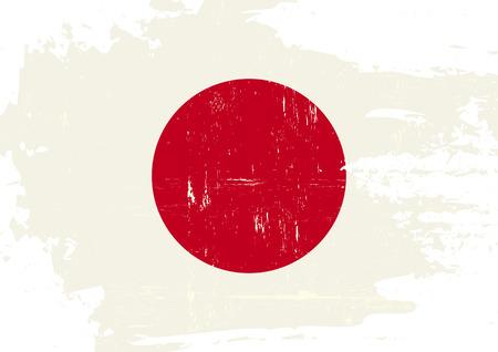 bandera japon: Una bandera japonesa con una textura grunge