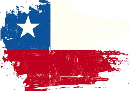 chilean flag: Una bandera chilena con una textura del grunge Vectores