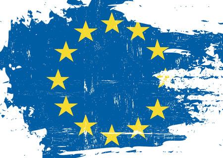 european culture: A flag of european union with a grunge texture