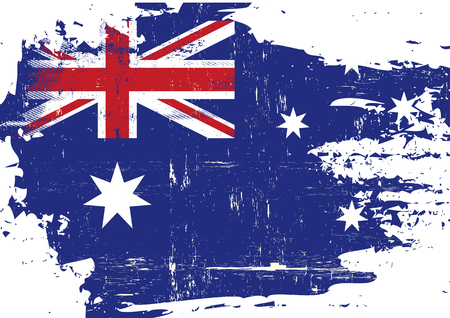 An australian flag with a grunge texture Stock Illustratie