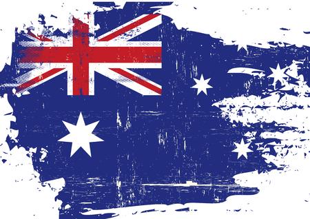 An australian flag with a grunge texture Vectores
