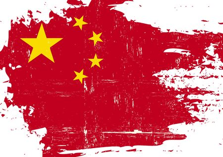 chinese flag: A Chinese flag with a grunge texture