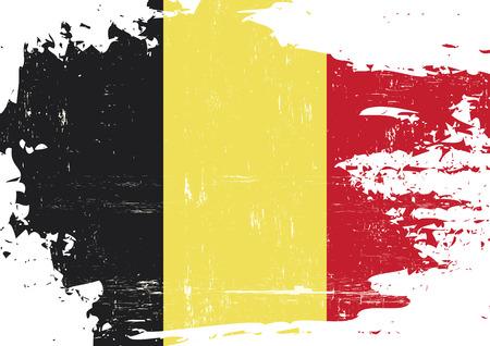 Una bandera belga con una textura grunge Ilustración de vector