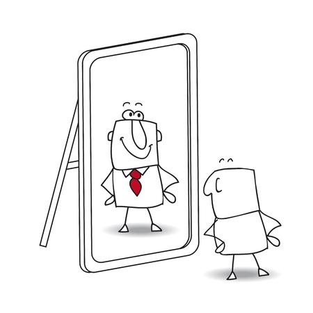 Joe in de spiegel kijkt. Het is een metafoor voor het houden van jezelf in het leven Stock Illustratie