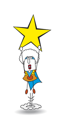 personality development: This Afro girl is a superhero. She is flying off like a rocket with a star in the hands