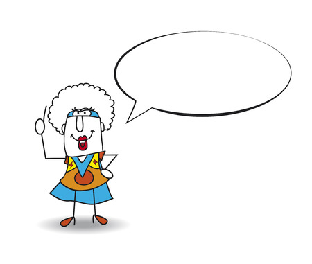 personality development: This Afro girl is a superhero. She is talking. Write your text in the bubble speech