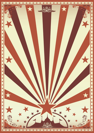 school carnival: A vintage brown circus poster with sunbeams for your show