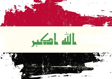basra: An Iraqi flag with a grunge texture Illustration