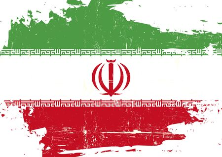 grained: An Iranian scratched flag with a grunge texture