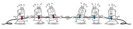 2 つのビジネス チームがロープと架空の線で相手をプルしようの両端にプルの競争の概念です。  イラスト・ベクター素材