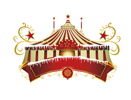 A circus sign isolated on white background for your xmas entertainment