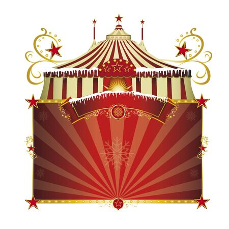 festive background: A circus sign isolated on white background for your xmas entertainment
