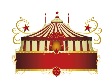 baroque border: A circus sign isolated on white background for your show