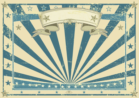 Horizontal retro blue poster for your message
