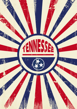 A vintage Tennessee poster with sunbeams and a a texture for your advertising
